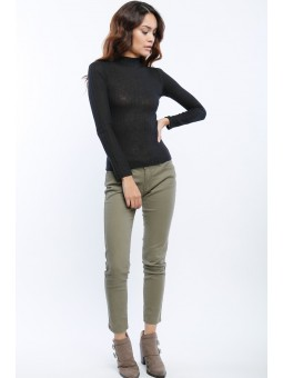 Mock Neck Long Sleeve Basic Ribbed Top