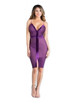 Satin Contrast Ribbed Mesh Bodycon