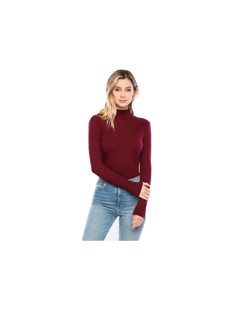 Timing-Junior Long Sleeve Mock Neck Sweater Bodysuit Top.
