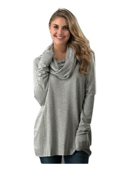 Turtle Neck Solid French Terry Long Sleeve Tunic