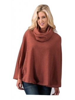 Heavy Sweater Knit Cowl Neck Poncho