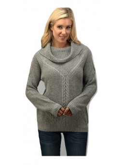 Cable Knit Pattern Wide Mock Neck Open Shoulder FashionSweater