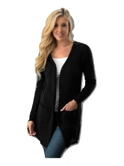 Open Front Long Body Sweater Cardigan w/ Pocket
