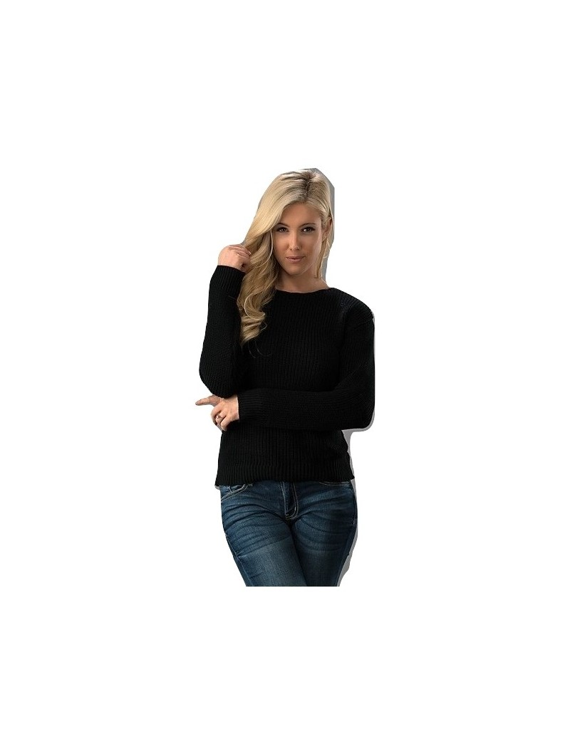 Round Neck Ribbed Long Sleeve Lace Up Detail Back Sweater Top