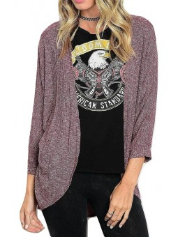 Solid Long Sleeve Open Front Cocoon Cardigan