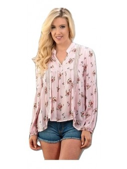 V Neck Long Sleeve Floral Print Woven Top