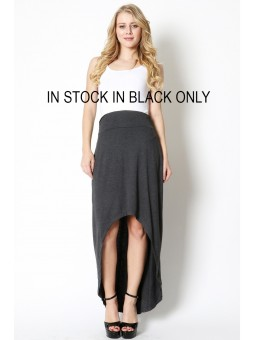 Premium Fabric Hi-Low Maxi Skirt With Elasticized Waist