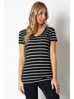Rayon Striped V-Neck Top