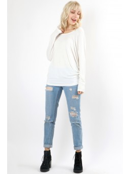 Premium Rayon Round Neck Long Sleeve Batwing Top