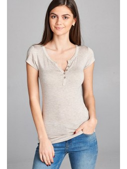 Short Sleeve Button Placket Top