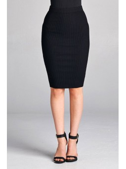 Pencil Skirt Bodycon Midi Skirt with Elastic Waistband