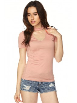 Short Sleeves Top with Choker Details