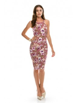 Cutaway Bodycon Print Bullet Dress Knit