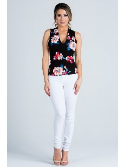 Sleeveless Top with a Flower Print All Over