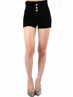 Bengaline High Waist 3 Buttons Zipper Back Short