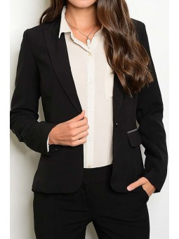 Solid One Button Blazer