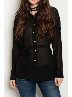 Long SLeeve Button Down Chiffon Shirt Tunic Top