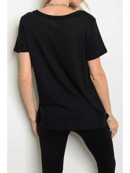 Short Sleeve Crew Neck Deep V-Cutout Top