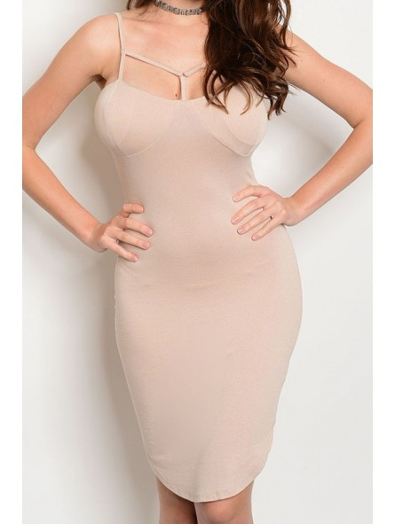 T-Strap Front Bodycon Dress