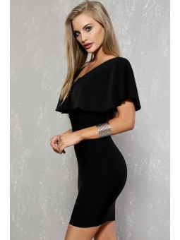 Caged Neck Ruffle Sleeves Bodycon Mini Dress