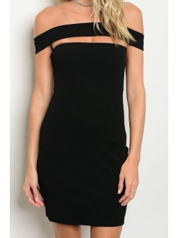 Off Shoulder Fitted Bodycon Above the Knee Dress with Zipper Closure