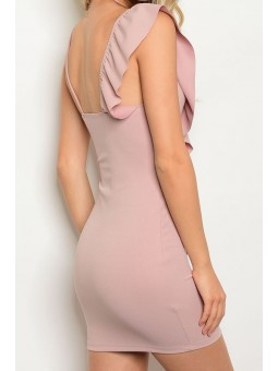 Sleeveless V-Neckline Above the Knee Bodycon Dress with a Ruffle on Shoulder Detail
