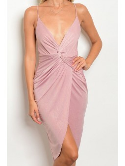 Spaghetti Strap Knot Front Satin Dress