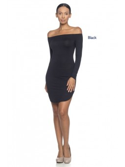 A Stretch Knit Dress Featuring An Elasticized Off Shoulder Neckline, Rounded Hem