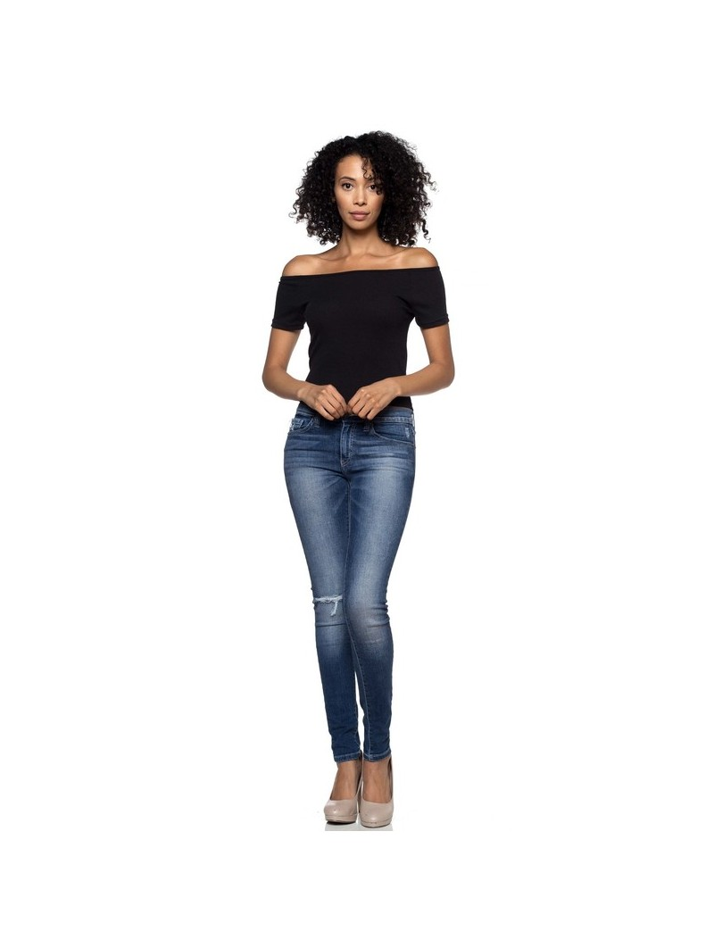 A Ribbed Knit Off Shoulder Top