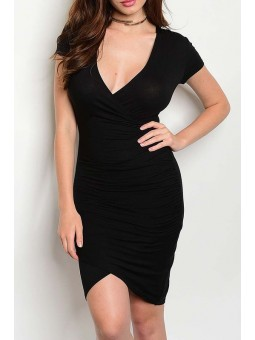 Short Sleeve V Neck Bodycon Dress