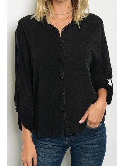 Long Roll Up Sleeve Button Down Wash Shirt Blouse Top