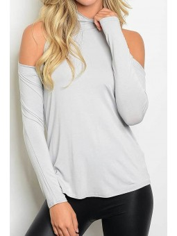 Long Sleeve Cold Shoulder Mock Neck Knit Blouse Top