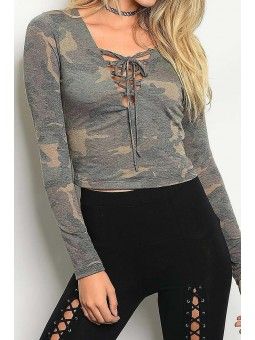 Long Sleeve Lace Up Detail Camouflage Top