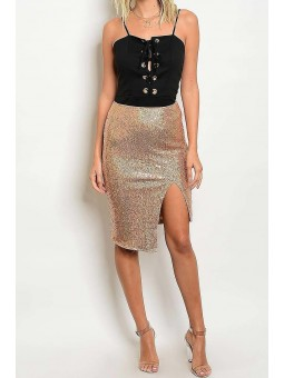 Front Slit Gold Sequence Skirt