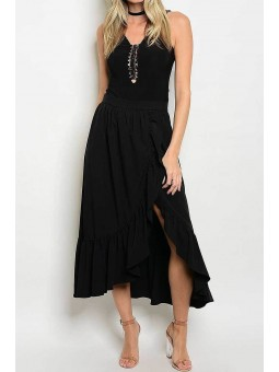 Solid Ruffled Hi Lo Midi Skirt