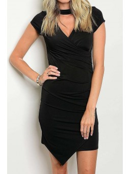 Short Sleeve Choker Neck Ruched Over Wrap Dress