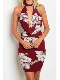 Halter Drape Neck Floral Print Pencil Dress
