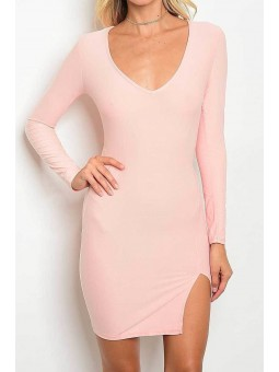 Long Sleeve V Neck Slit Hem Bodycon Dress