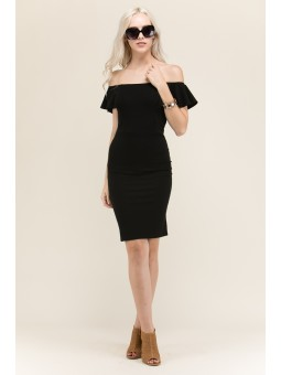 Ruffle Sleeves Slim Dress