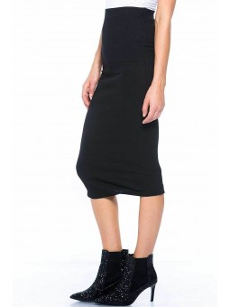 Solid Knee Length Knit Stretch Pencil Skirt