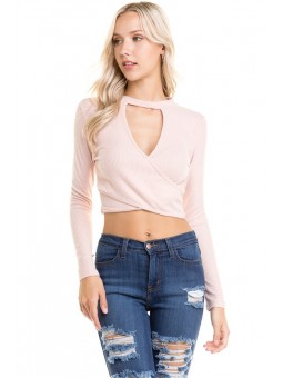 Long Sleeve Front Overlap Mock Neck Top
