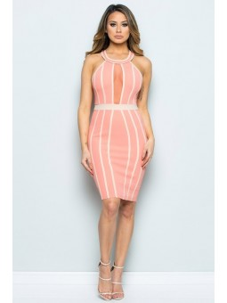 High Neck Contrast Dress W/ Mesh Insert