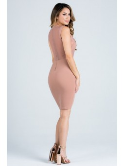 Highneck Cross Hatching Mesh Bodycon