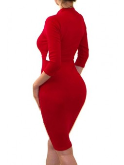 Sexy And Classy 3/4 Sleeve Solid Color Dress