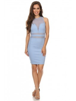 Solid And Mesh Sleeveless Knee Length Bodycon Dress With Crew Neck And Racerback  With Keyhole.