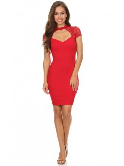 Solid, Short Sleeve Short Dress In A Body -Con Style With Front And Back Cutouts And Lace Detailing