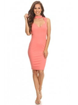Solid Sleeveless Midi Length Body-Con Dress With Mock Neck  And Sweetheart Neck.