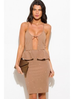 Beige Shimmer Cut Out Sweetheart  Neck Peplum Pencil Cocktail Party Metallic Club Midi Dress.