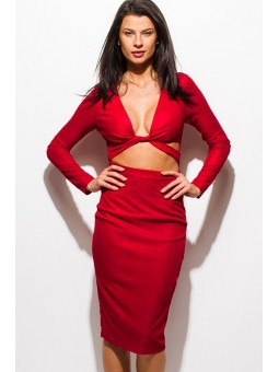 Ferrari Red Metallic V Neck Long Sleeve  Cut Out Body-Con Fitted Pencil Club Midi Dress