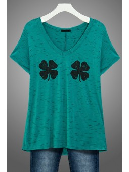 "Short Sleeve V Neck Space dye Jersey ""Shamrock Twinsies"" Graphic Top."